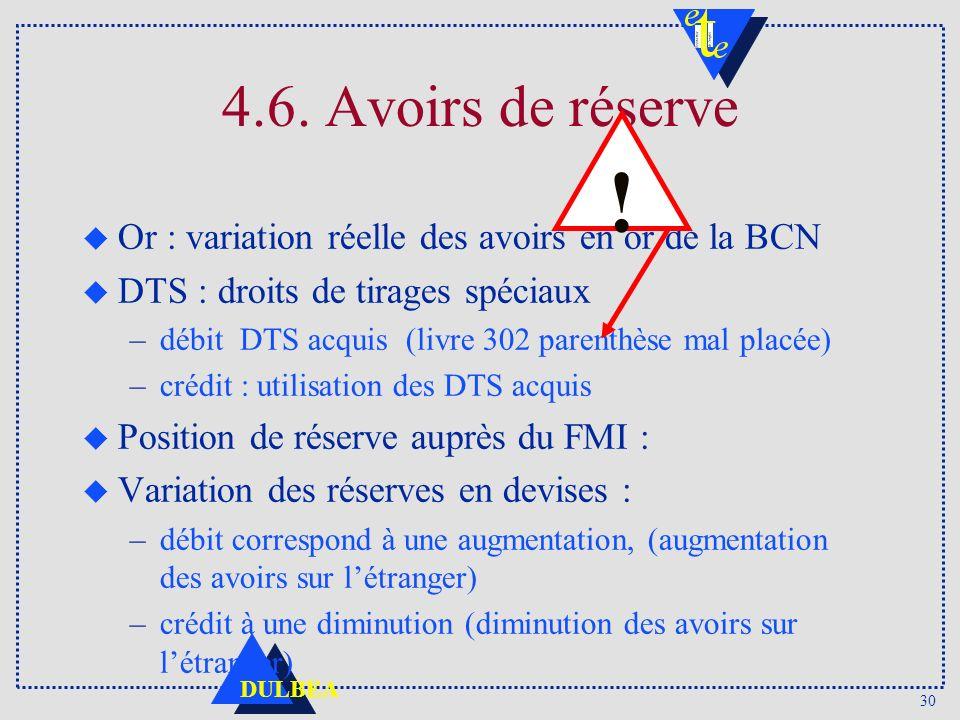 30 DULBEA 4.6. Avoirs de réserve u Or : variation réelle des avoirs en or de la BCN u DTS : droits de tirages spéciaux –débit DTS acquis (livre 302 pa