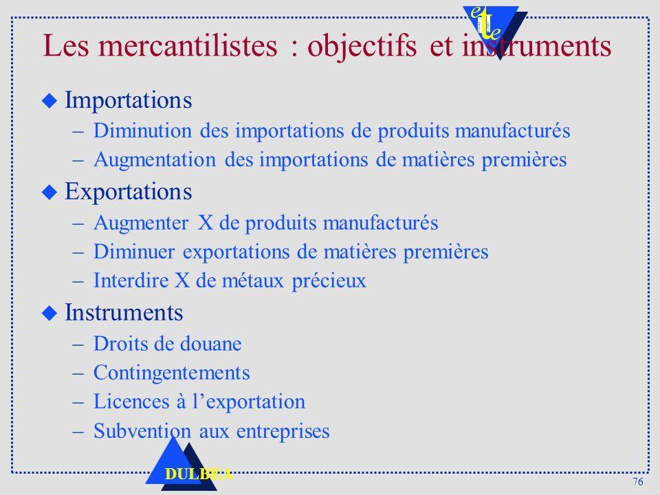 76 DULBEA Les mercantilistes : objectifs et instruments u Importations –Diminution des importations de produits manufacturés –Augmentation des importa