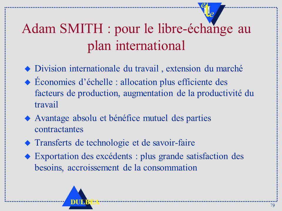 79 DULBEA Adam SMITH : pour le libre-échange au plan international u Division internationale du travail, extension du marché u Économies déchelle : al