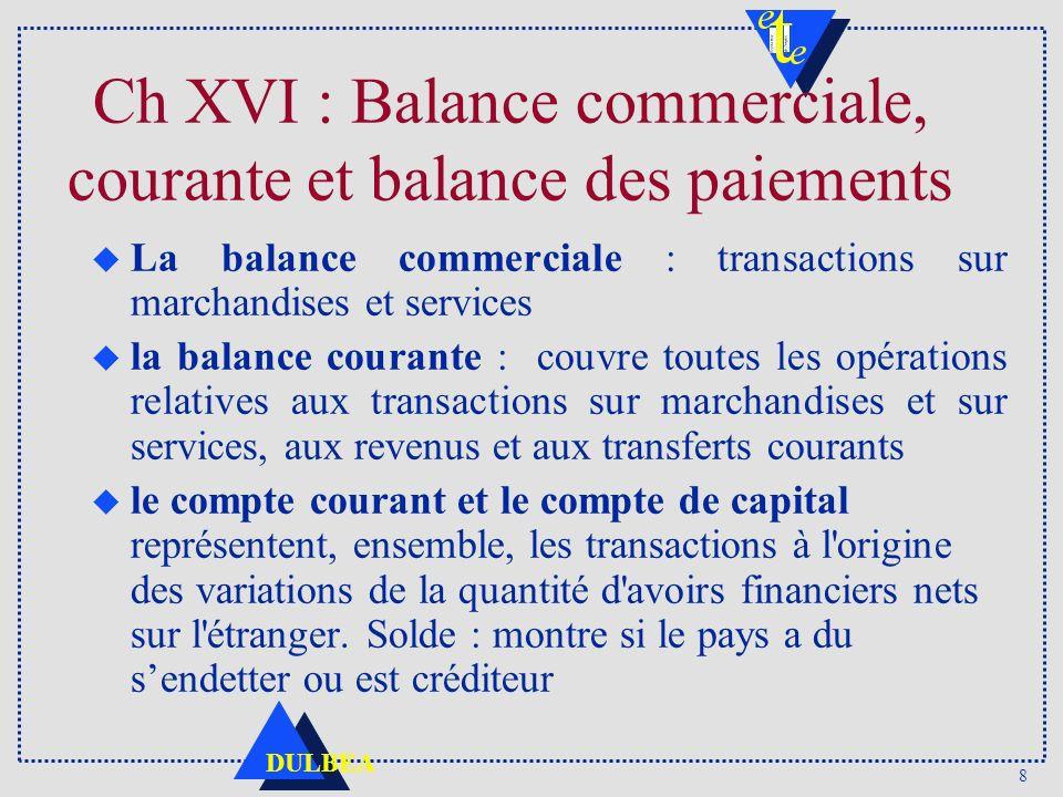 8 DULBEA Ch XVI : Balance commerciale, courante et balance des paiements u La balance commerciale : transactions sur marchandises et services u la bal