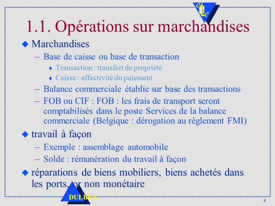 9 DULBEA 1.1. Opérations sur marchandises u Marchandises –Base de caisse ou base de transaction t Transaction : transfert de propriété t Caisse : effe