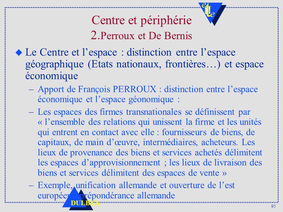 95 DULBEA Centre et périphérie 2. Perroux et De Bernis u Le Centre et lespace : distinction entre lespace géographique (Etats nationaux, frontières…)
