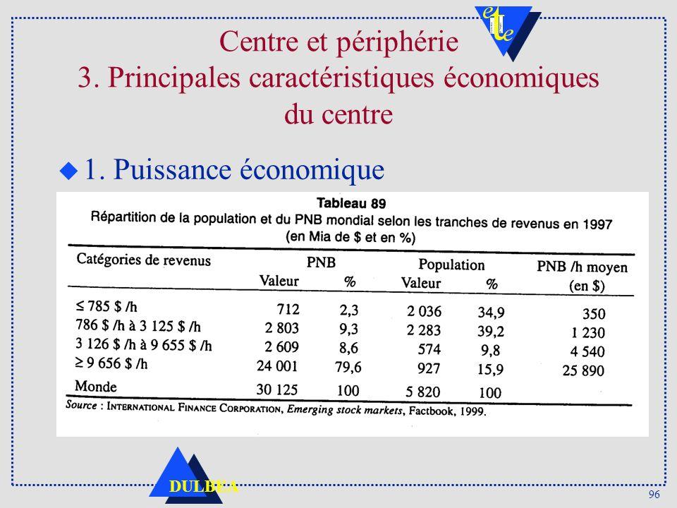 96 DULBEA Centre et périphérie 3. Principales caractéristiques économiques du centre u 1. Puissance économique