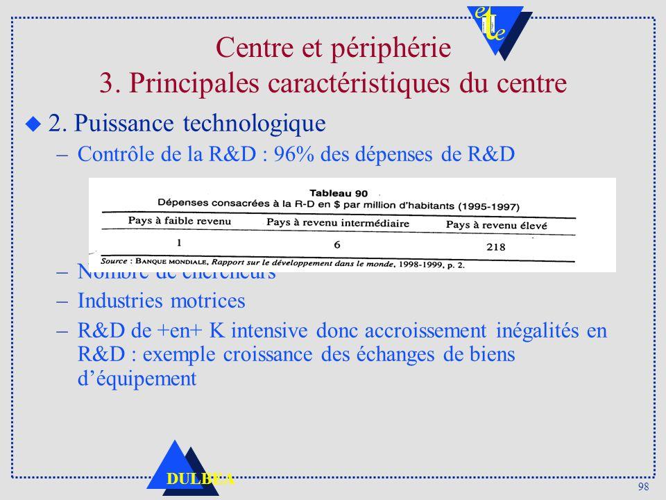 98 DULBEA Centre et périphérie 3. Principales caractéristiques du centre u 2. Puissance technologique –Contrôle de la R&D : 96% des dépenses de R&D –N