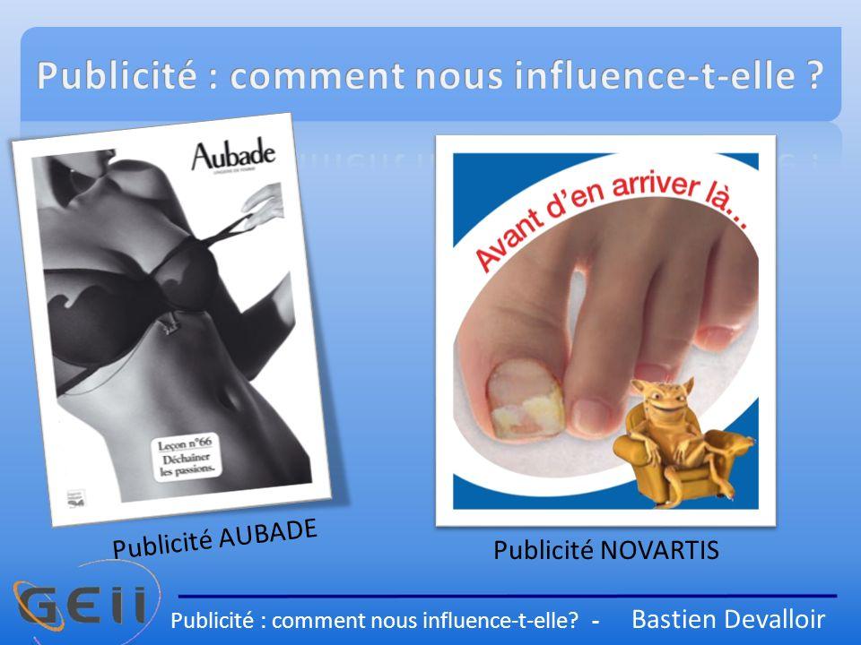 Publicité NOVARTIS Publicité AUBADE Publicité : comment nous influence-t-elle? - Bastien Devalloir