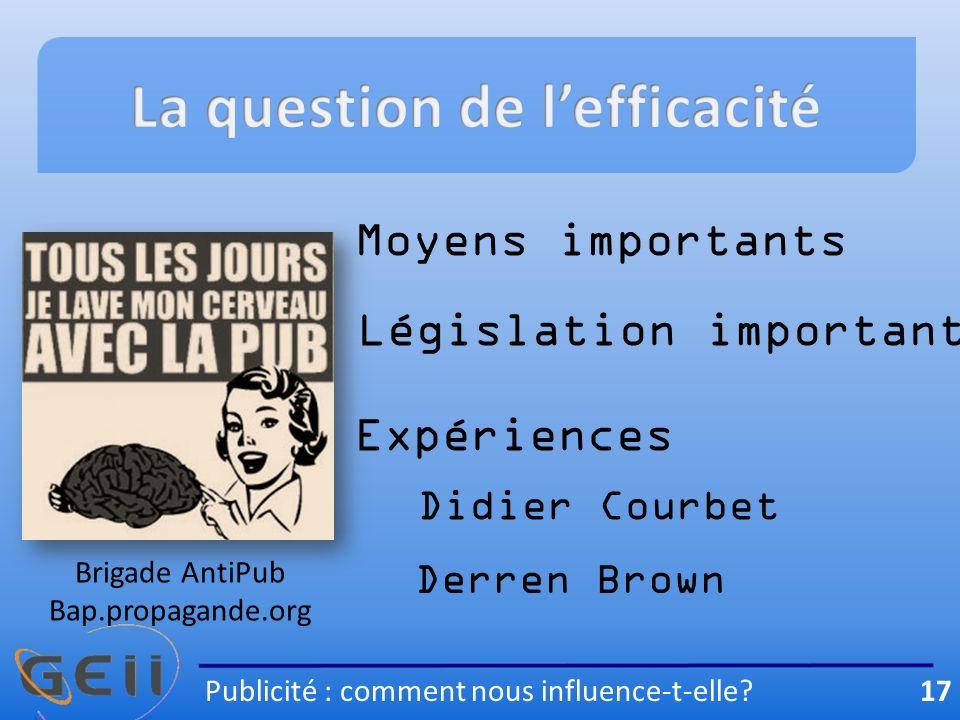 Moyens importants Législation importante Expériences Didier Courbet Derren Brown Publicité : comment nous influence-t-elle.