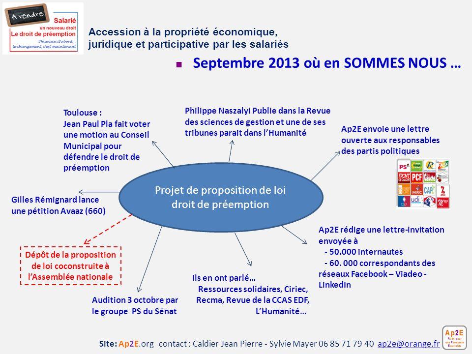 Site: Ap2E.org contact : Caldier Jean Pierre - Sylvie Mayer 06 85 71 79 40 ap2e@orange.frap2e@orange.fr Septembre 2013 où en SOMMES NOUS … Accession à