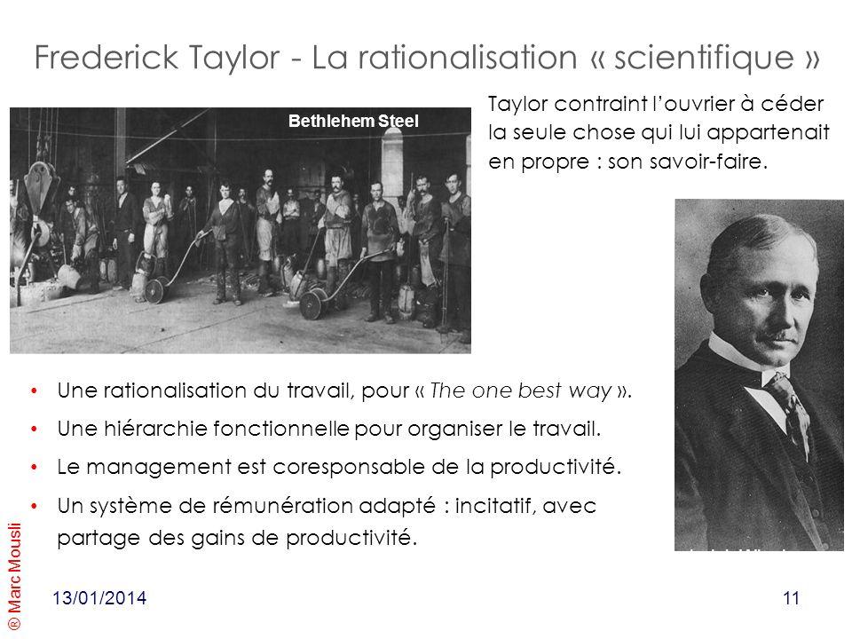 ® Marc Mousli 13/01/2014 Frederick Taylor - La rationalisation « scientifique » Bethlehem Steel Ford model T 1931 Une rationalisation du travail, pour