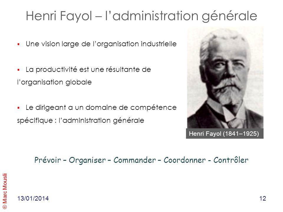® Marc Mousli 13/01/2014 Henri Fayol (1841–1925) Une vision large de lorganisation industrielle La productivité est une résultante de lorganisation gl