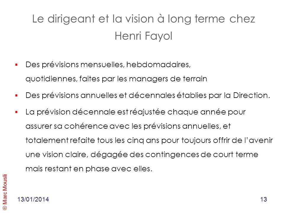 ® Marc Mousli Le dirigeant et la vision à long terme chez Henri Fayol 13/01/2014 Des prévisions mensuelles, hebdomadaires, quotidiennes, faites par le