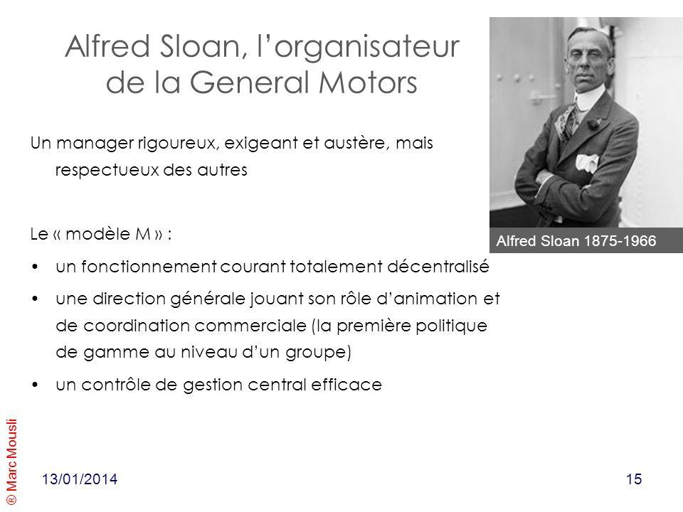 ® Marc Mousli Alfred Sloan, lorganisateur de la General Motors Un manager rigoureux, exigeant et austère, mais respectueux des autres Le « modèle M »