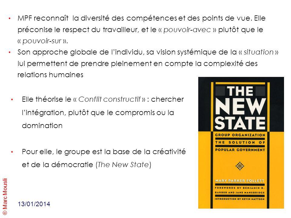 ® Marc Mousli 13/01/2014 Elle théorise le « Conflit constructif » : chercher lintégration, plutôt que le compromis ou la domination Pour elle, le grou