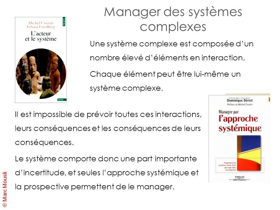 ® Marc Mousli Manager des systèmes complexes Il est impossible de prévoir toutes ces interactions, leurs conséquences et les conséquences de leurs con