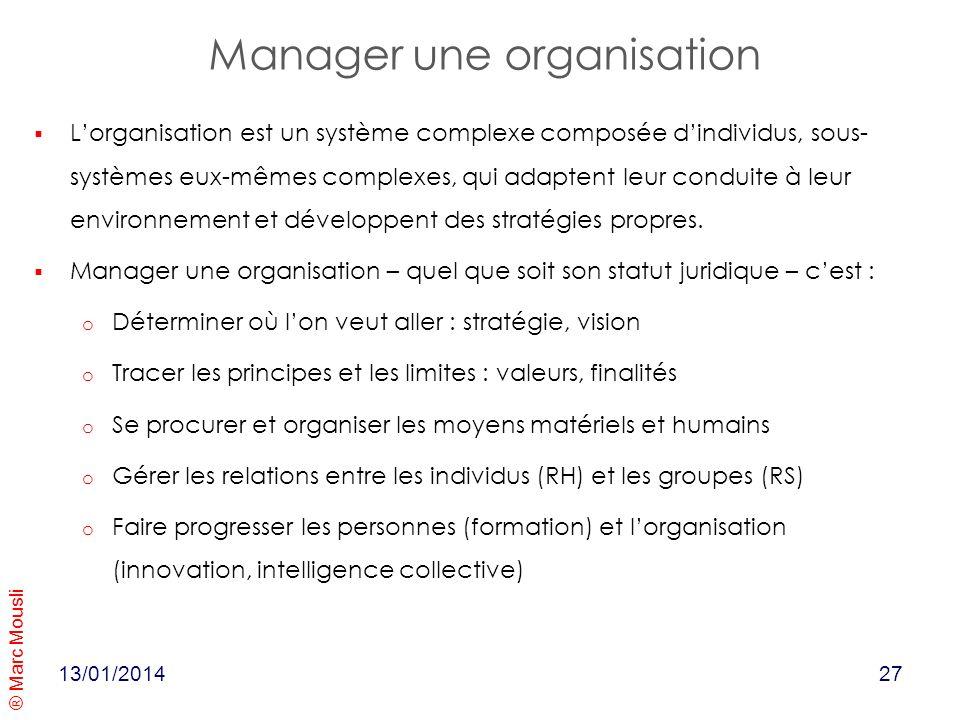 ® Marc Mousli 13/01/2014 Manager une organisation Lorganisation est un système complexe composée dindividus, sous- systèmes eux-mêmes complexes, qui a