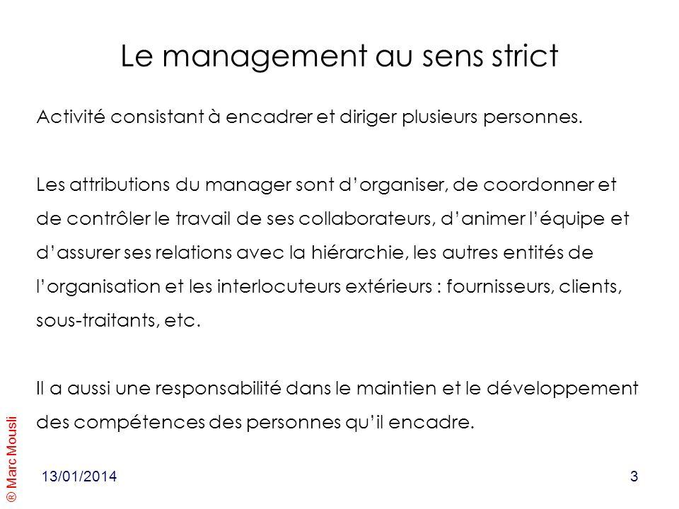 ® Marc Mousli Le management au sens strict Activité consistant à encadrer et diriger plusieurs personnes. Les attributions du manager sont dorganiser,