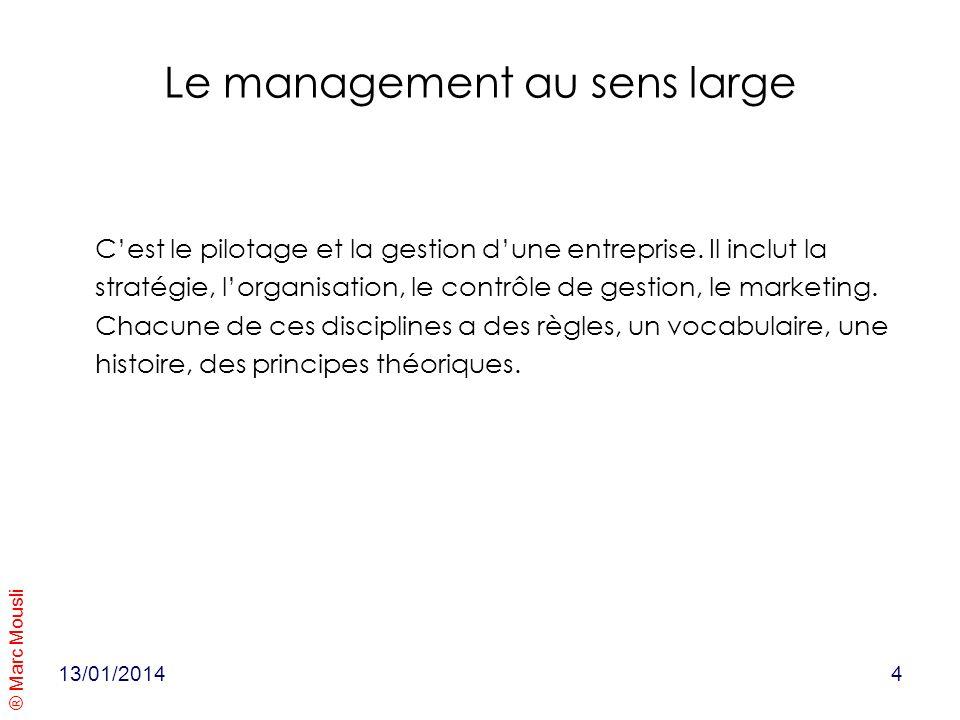 ® Marc Mousli Le management au sens large Cest le pilotage et la gestion dune entreprise. Il inclut la stratégie, lorganisation, le contrôle de gestio