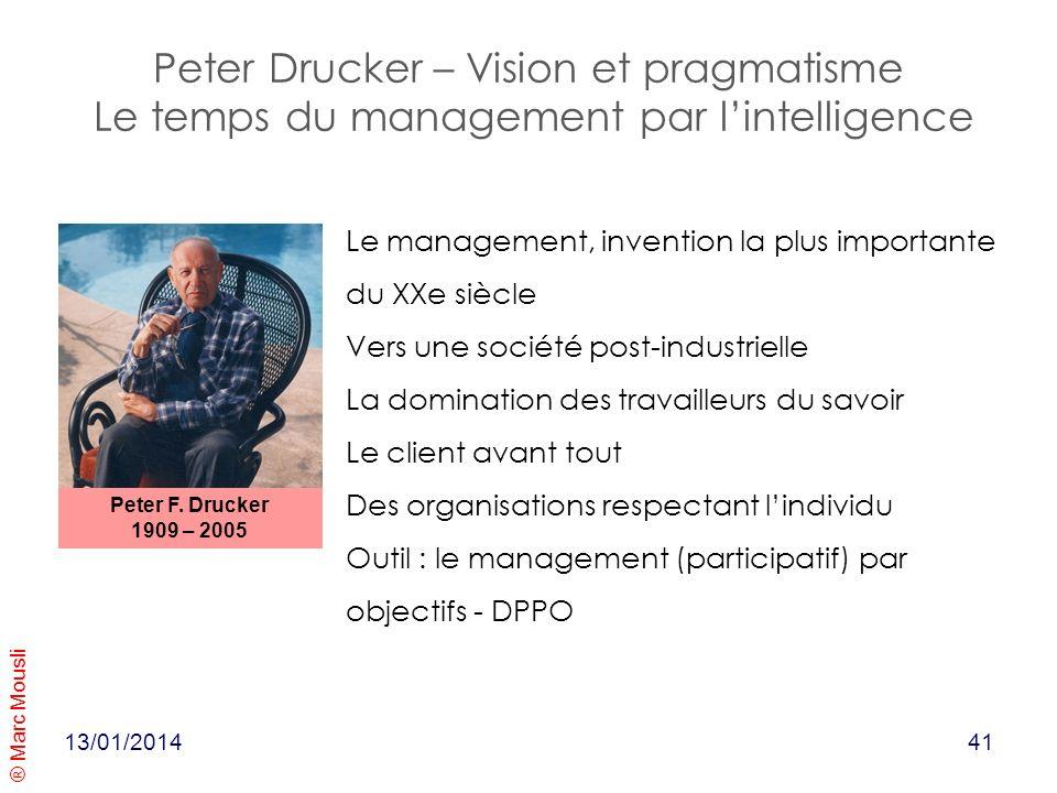 ® Marc Mousli 13/01/2014 Peter Drucker – Vision et pragmatisme Le temps du management par lintelligence Peter F. Drucker 1909 – 2005 Le management, in