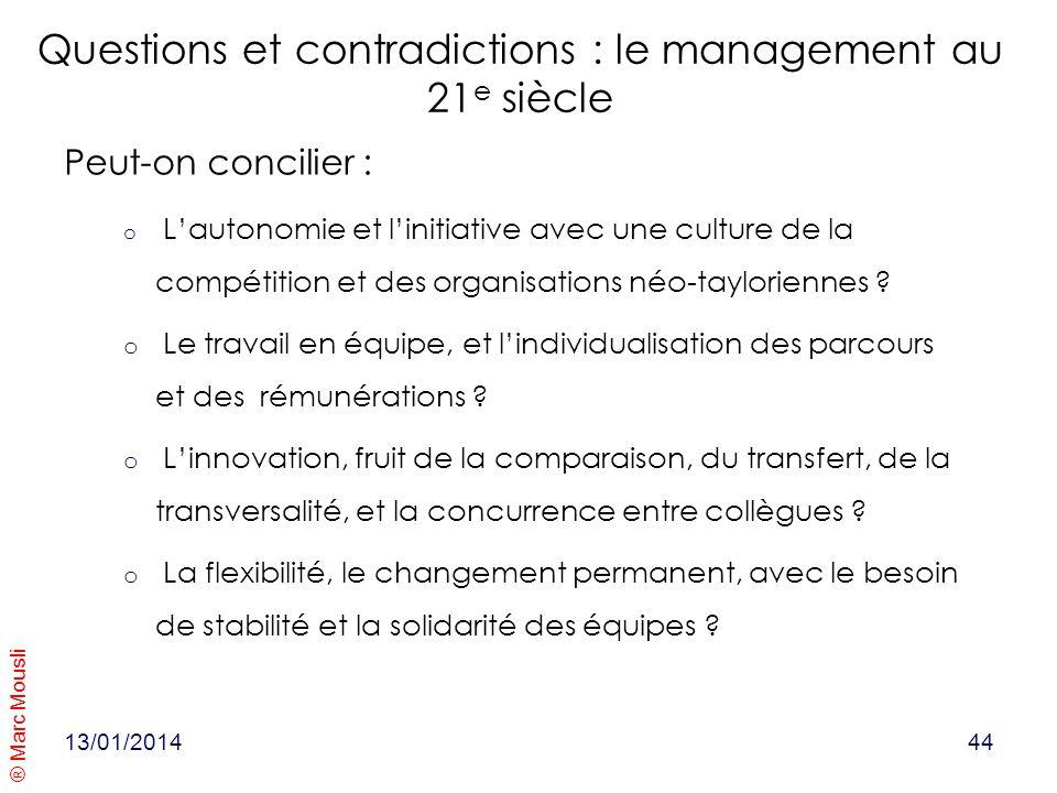 ® Marc Mousli Questions et contradictions : le management au 21 e siècle Peut-on concilier : o Lautonomie et linitiative avec une culture de la compét
