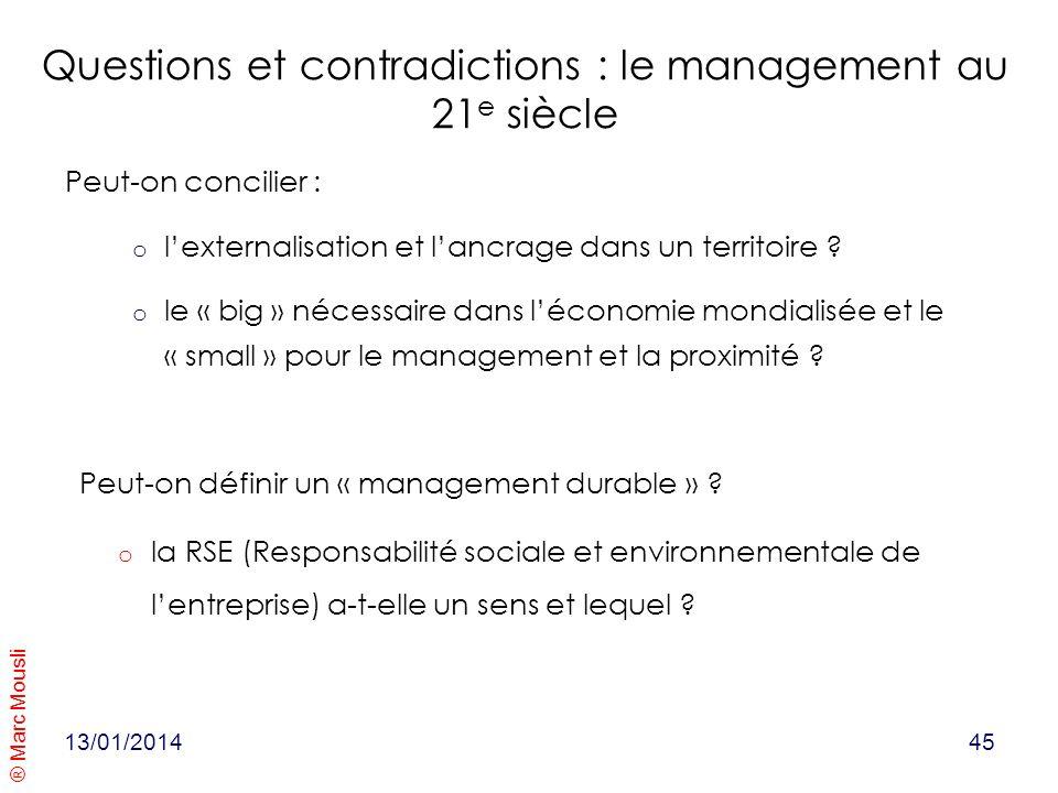 ® Marc Mousli Questions et contradictions : le management au 21 e siècle Peut-on concilier : o lexternalisation et lancrage dans un territoire ? o le