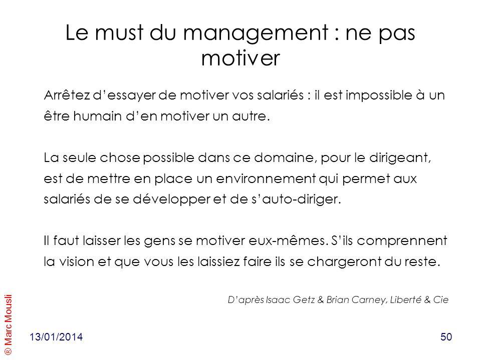 ® Marc Mousli Le must du management : ne pas motiver Arrêtez dessayer de motiver vos salariés : il est impossible à un être humain den motiver un autr