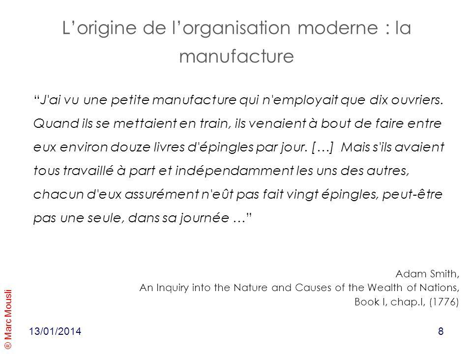 ® Marc Mousli 13/01/2014 Lorigine de lorganisation moderne : la manufacture J'ai vu une petite manufacture qui n'employait que dix ouvriers. Quand ils