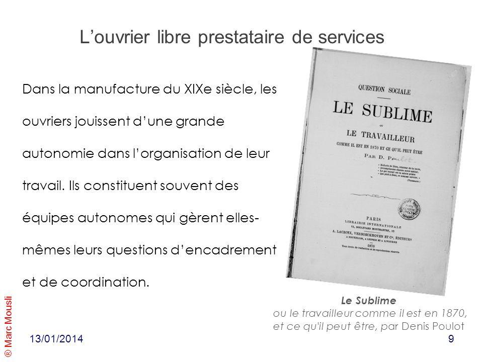 ® Marc Mousli Louvrier libre prestataire de services Dans la manufacture du XIXe siècle, les ouvriers jouissent dune grande autonomie dans lorganisati