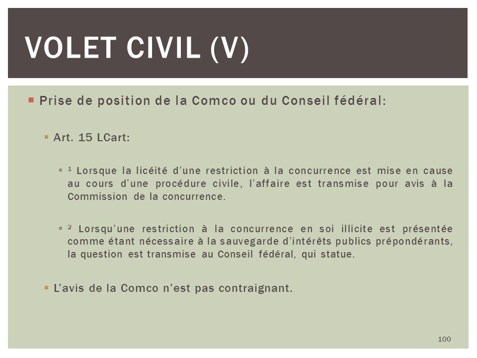 Prise de position de la Comco ou du Conseil fédéral: Art. 15 LCart: 1 Lorsque la licéité dune restriction à la concurrence est mise en cause au cours