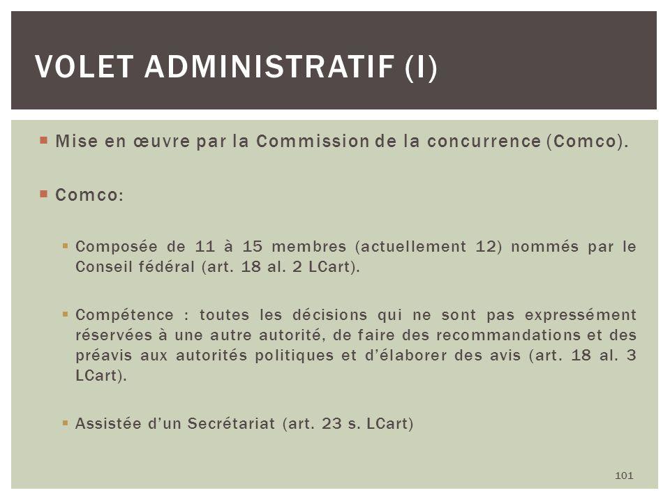 Mise en œuvre par la Commission de la concurrence (Comco). Comco: Composée de 11 à 15 membres (actuellement 12) nommés par le Conseil fédéral (art. 18