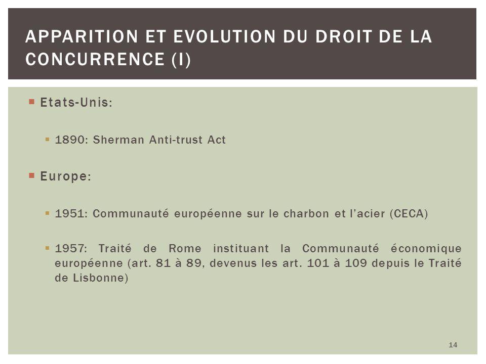 Etats-Unis: 1890: Sherman Anti-trust Act Europe: 1951: Communauté européenne sur le charbon et lacier (CECA) 1957: Traité de Rome instituant la Commun