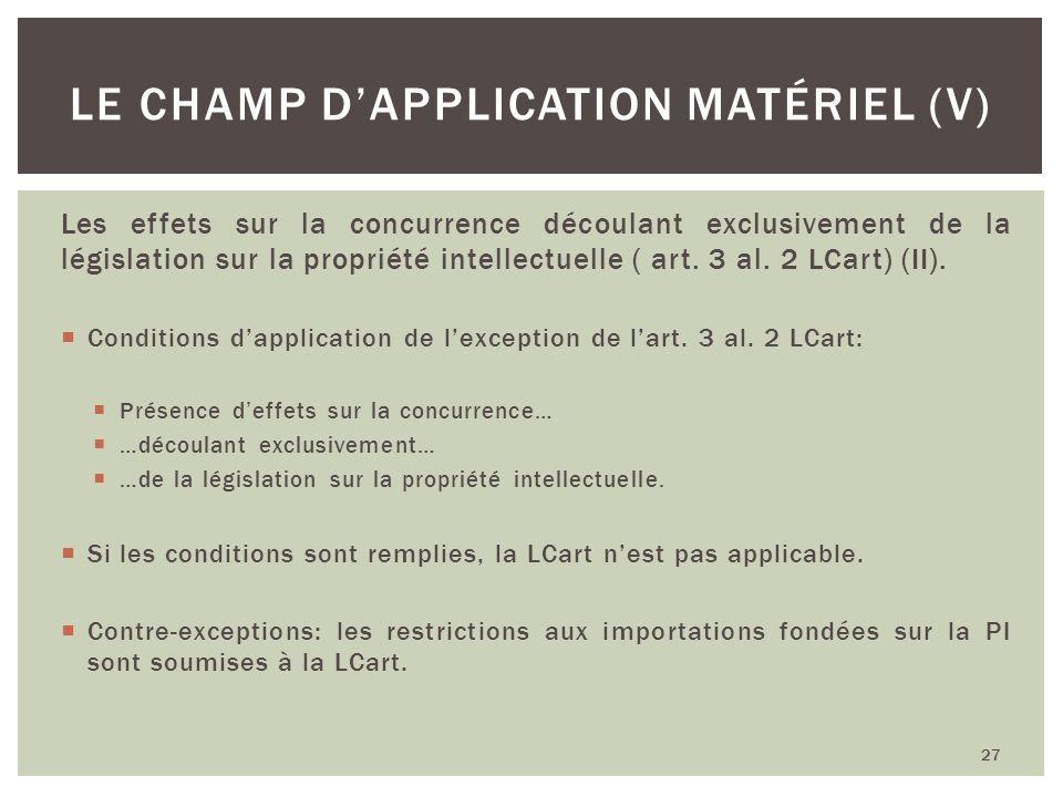 Les effets sur la concurrence découlant exclusivement de la législation sur la propriété intellectuelle ( art. 3 al. 2 LCart) (II). Conditions dapplic