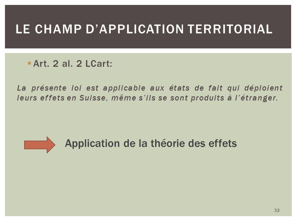 Art. 2 al. 2 LCart: La présente loi est applicable aux états de fait qui déploient leurs effets en Suisse, même sils se sont produits à létranger. 32
