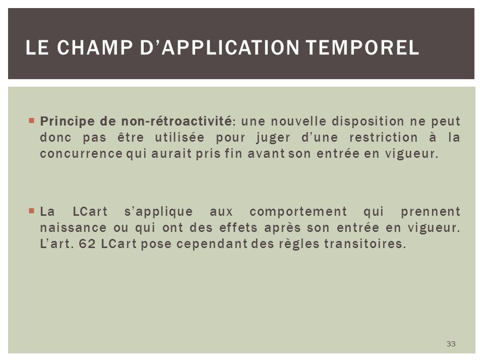 Principe de non-rétroactivité: une nouvelle disposition ne peut donc pas être utilisée pour juger dune restriction à la concurrence qui aurait pris fi