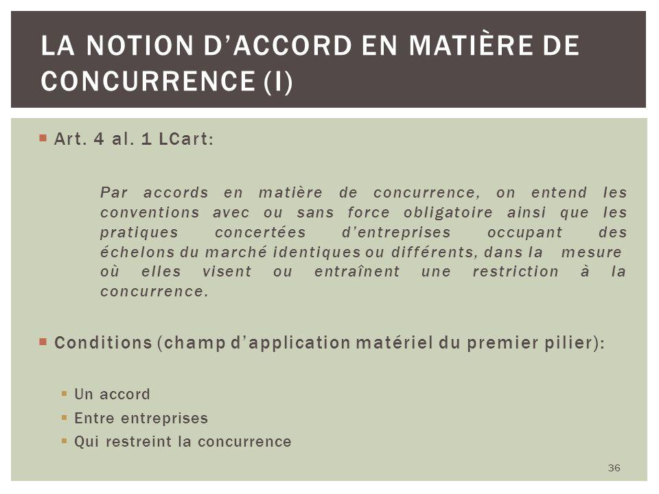 Art. 4 al. 1 LCart: Par accords en matière de concurrence, on entend les conventions avec ou sans force obligatoire ainsi que les pratiques concertées