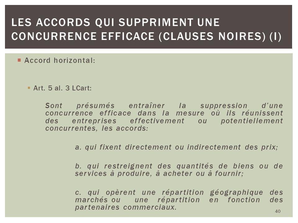 Accord horizontal: Art. 5 al. 3 LCart: Sont présumés entraîner la suppression dune concurrence efficace dans la mesure où ils réunissent des entrepris