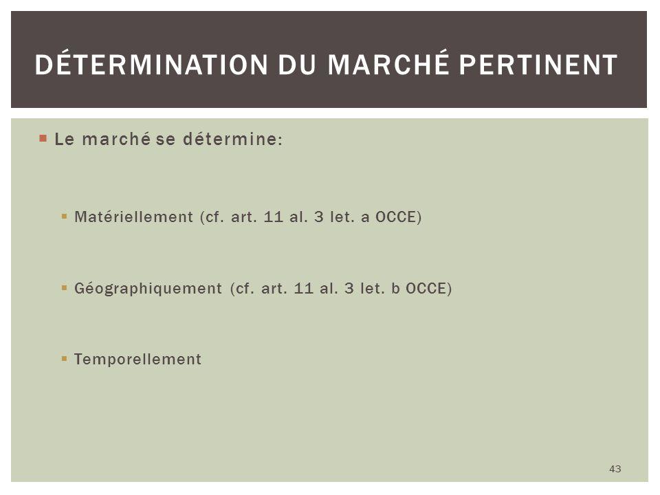 Le marché se détermine: Matériellement (cf. art. 11 al. 3 let. a OCCE) Géographiquement (cf. art. 11 al. 3 let. b OCCE) Temporellement 43 DÉTERMINATIO