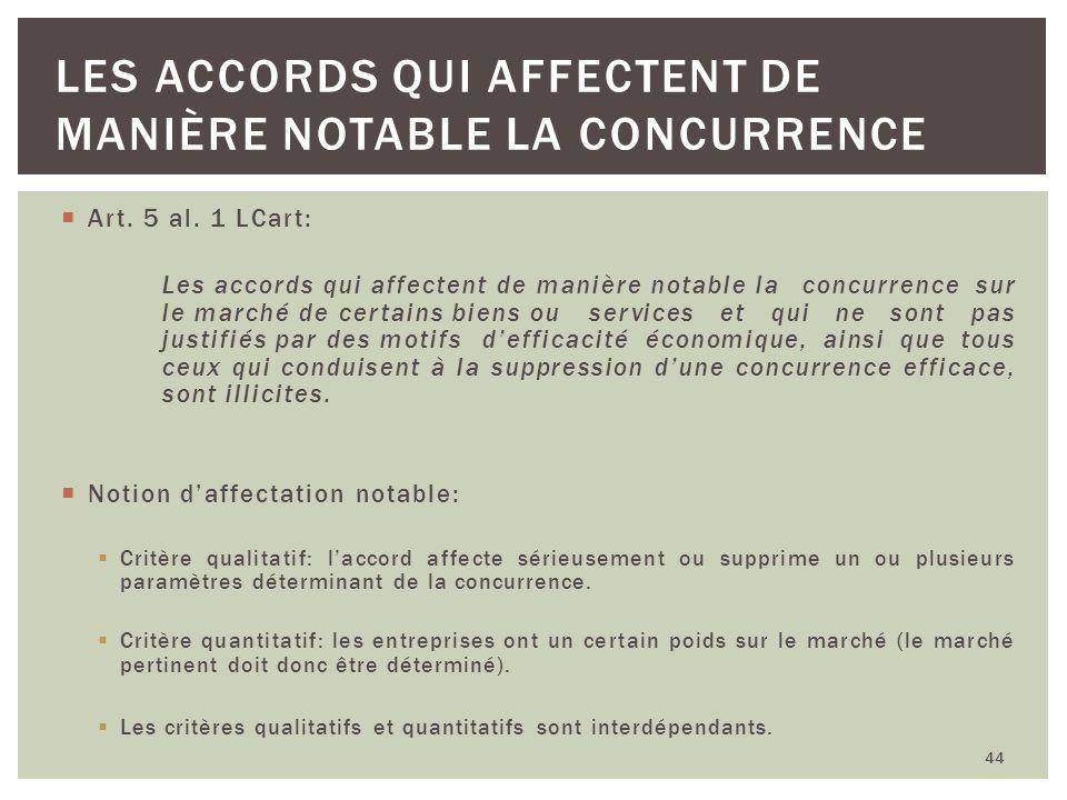 Art. 5 al. 1 LCart: Les accords qui affectent de manière notable la concurrence sur le marché de certains biens ou services et qui ne sont pas justifi