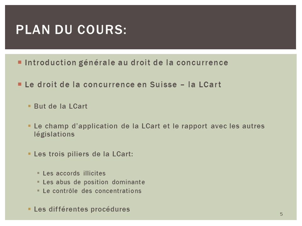 4 piliers: (I) Les accords restrictifs de la concurrence (art.