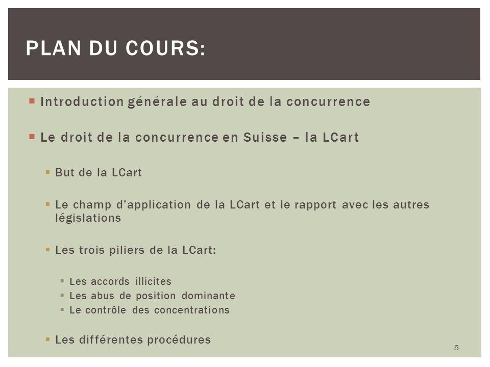 Introduction générale au droit de la concurrence Le droit de la concurrence en Suisse – la LCart But de la LCart Le champ dapplication de la LCart et