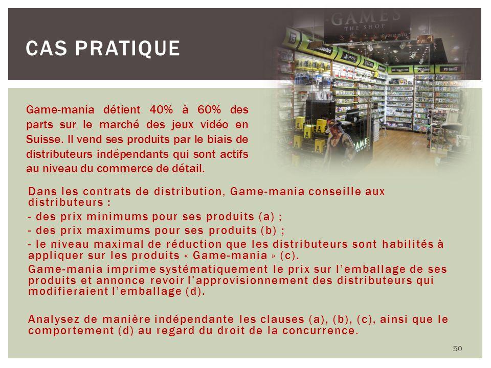 Dans les contrats de distribution, Game-mania conseille aux distributeurs : - des prix minimums pour ses produits (a) ; - des prix maximums pour ses p
