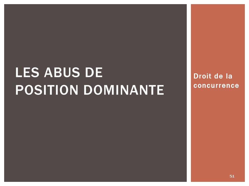 Droit de la concurrence 51 LES ABUS DE POSITION DOMINANTE