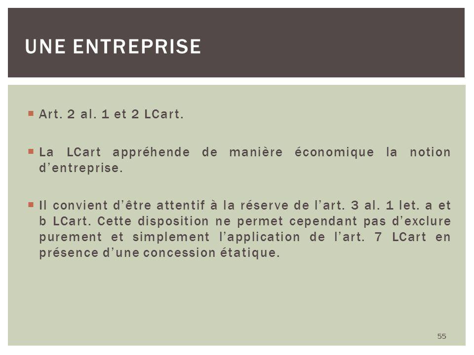 Art. 2 al. 1 et 2 LCart. La LCart appréhende de manière économique la notion dentreprise. Il convient dêtre attentif à la réserve de lart. 3 al. 1 let