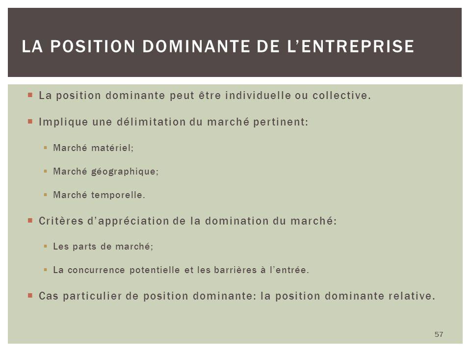 La position dominante peut être individuelle ou collective. Implique une délimitation du marché pertinent: Marché matériel; Marché géographique; March