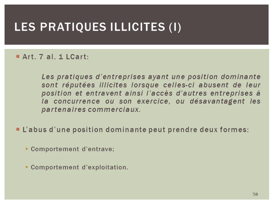 Art. 7 al. 1 LCart: Les pratiques dentreprises ayant une position dominante sont réputées illicites lorsque celles-ci abusent de leur position et entr