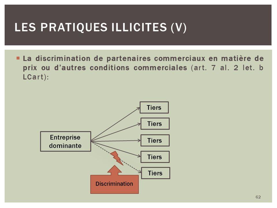 La discrimination de partenaires commerciaux en matière de prix ou dautres conditions commerciales (art. 7 al. 2 let. b LCart): 62 LES PRATIQUES ILLIC