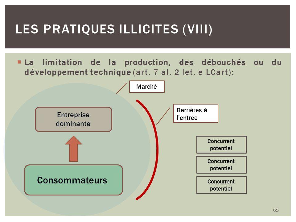 La limitation de la production, des débouchés ou du développement technique (art. 7 al. 2 let. e LCart): 65 LES PRATIQUES ILLICITES (VIII) Consommateu