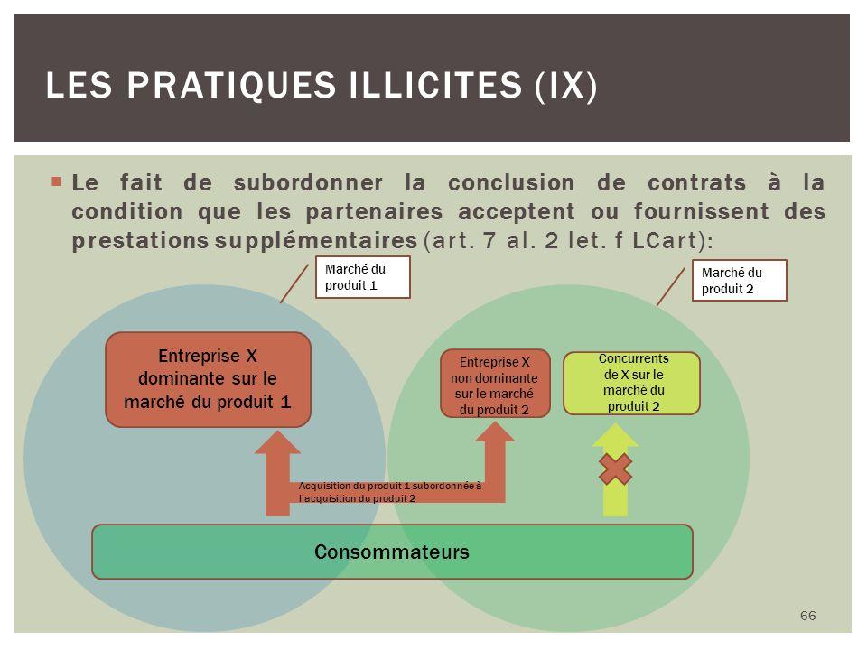 Le fait de subordonner la conclusion de contrats à la condition que les partenaires acceptent ou fournissent des prestations supplémentaires (art. 7 a