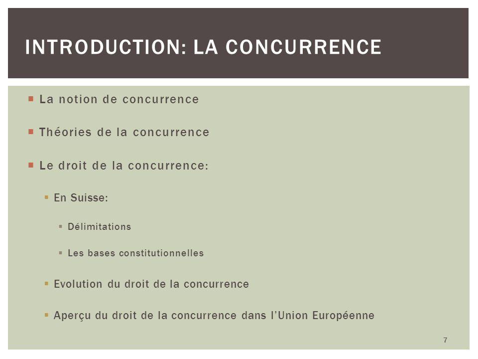 La notion de concurrence Théories de la concurrence Le droit de la concurrence: En Suisse: Délimitations Les bases constitutionnelles Evolution du dro
