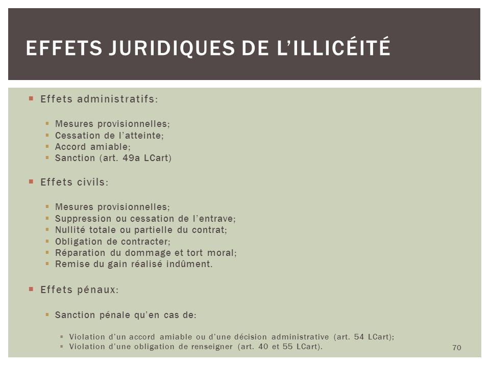 Effets administratifs: Mesures provisionnelles; Cessation de latteinte; Accord amiable; Sanction (art. 49a LCart) Effets civils: Mesures provisionnell