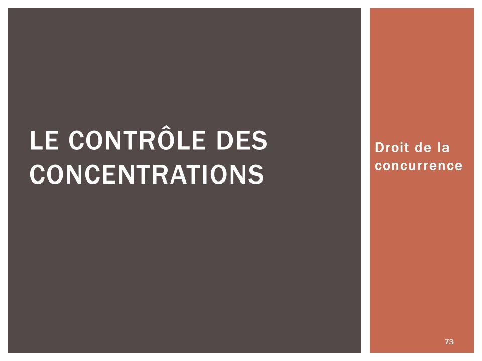 Droit de la concurrence 73 LE CONTRÔLE DES CONCENTRATIONS