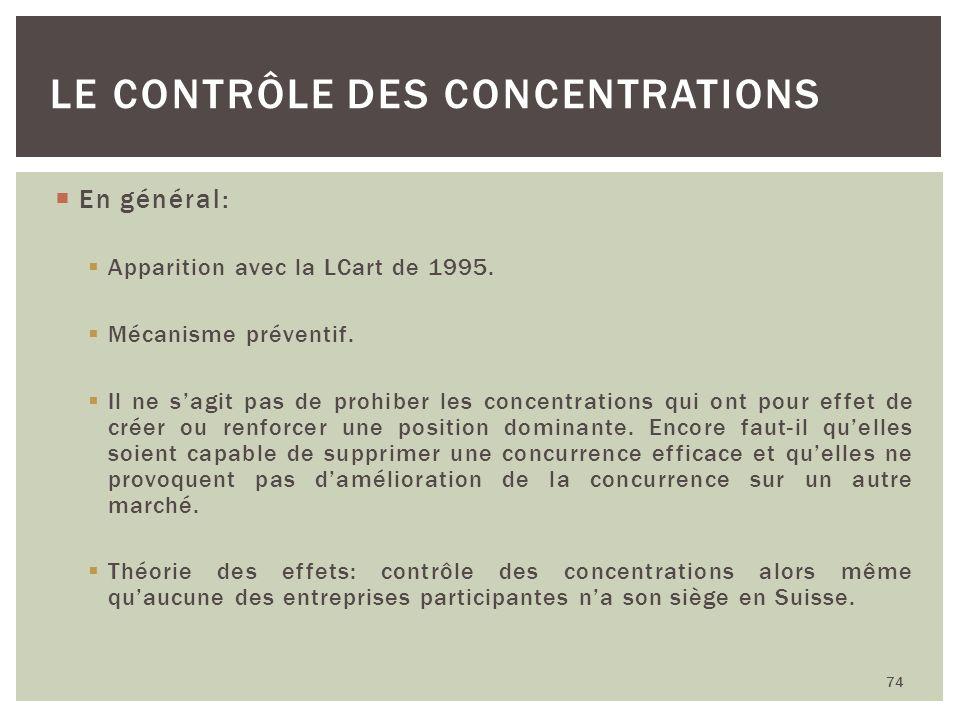 En général: Apparition avec la LCart de 1995. Mécanisme préventif. Il ne sagit pas de prohiber les concentrations qui ont pour effet de créer ou renfo